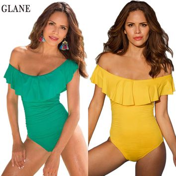 2018 One Piece Swimsuit Ruffle lotus leaf edge Swimwear Monokini Off  Shoulder Bikini Push Up Swimsuit Women Summer Beachwear