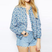 Blue Floral Long Sleeve Zip Padded Coat