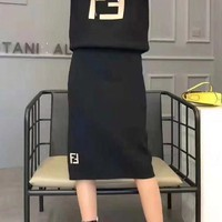 """FENDI""Women Casual Fashion Letter Printing Long Sleeve Hooded  Long Skirt Two-Piece Casual Wear"