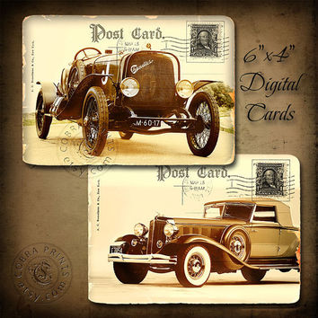"Vintage Car - 6""x4"" Printable Cards CP-200 for Scrapbooking, Arts and Crafts - Instant Download"