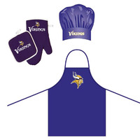 Minnesota Vikings NFL Barbeque Apron, Chef's Hat and Pot Holder Deluxe Set