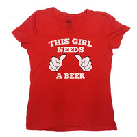 Funny Drinking TShirt This Gal Needs A Beer T-Shirt Party Shirt Bar Crawl TShirt Funny Beer TShirt Alcohol Shirt College Ladies Tee - SA93