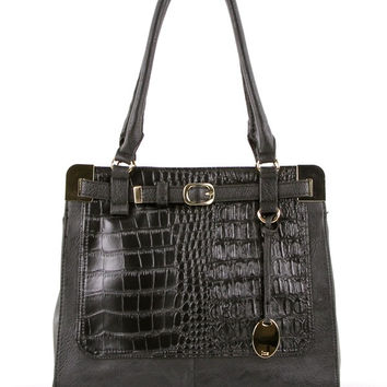 Croc Embossed Shoulder Bag in Black