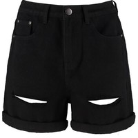 Hetty Wide Leg Roll Hem Mom Shorts | Boohoo