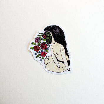Flower Face Sticker - Hand cut girl drawing