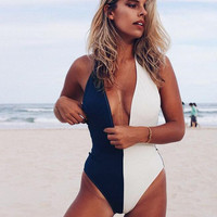 High Quality Comfortable Summer Sexy Deep V Patchwork Swimwear [10873134863]