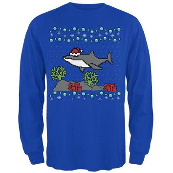 LMFCY8 Ugly Christmas Sweater Shark Santa Hat Mens Long Sleeve T Shirt