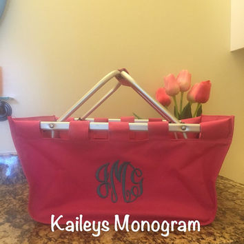 Monogram Market Tote HOT PINK Personalized Gift Tailgate Monogrammed KaileysMonogram Spring Mother's Day Graduation Gift