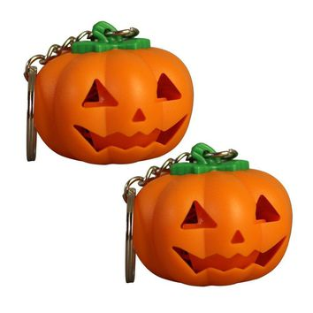 2 PCS LED Keyring Pumpkin Mini Cute Keychain Light Toy Gift LED Keychain for Birthday Halloween Childrens Day