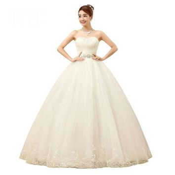 Princess Crystal Sashes Wedding Dress Ball Gown Bridal Gowns