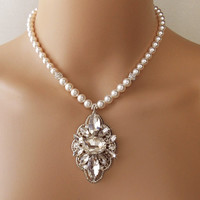 Pearl Wedding Necklace, Bridal Necklace, Statement Necklace, Crystal and Swarovski Pearls, Vintage Style Brooch - PENELOPE