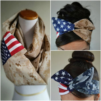 Veteran's day Marine Desert Camo bow Infinity Scarf set, American Flag Military Scarf