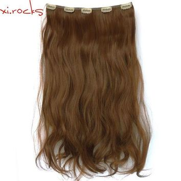 ESB1ON Xi.rocks 25 Colors Clip in Hair Extension 24inches Synthetic Weave Around the Head 5 Clips Curly Double Weft No Cloth 100 gram