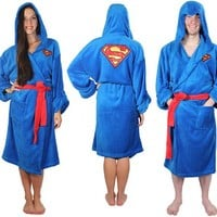 DC Comics Superman Adult Blue Hooded Plush Costume Robe