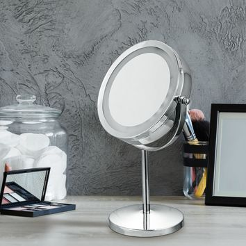 LED Magnifying Dual Sided Round Vanity Makeup Mirror