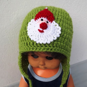 Crochet beanie Santa, Baby Santa hat, Santa applique hat, Newborn Santa beanie, Stripes hat Baby gift, MADE TO ORDER