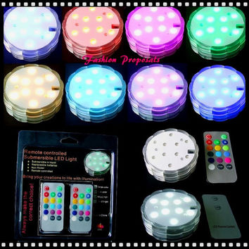 Submersible RGB LED floralite with a remote control set 4 with 16 colors for only 32.00. Vase LED remote control sumersible light
