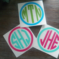 7 Inch Multi Colored Circle Monogram Vinyl Decal