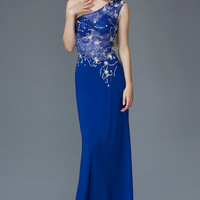G2143 One Shoulder Jersey Sheer Illusion Beaded Prom Dress