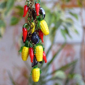 Lampwork necklace Corn chili pepper glass jewelry Vegetable necklace Glass bead Harvest Nature Food Fall Autumn Christmas gift for her