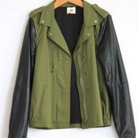 Leather Sleeves Army Jacket