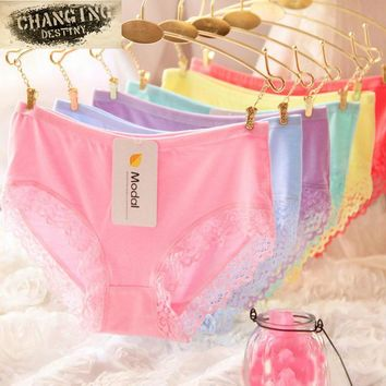 2017 Modal Cotton High Elasticity Candy Color Women Briefs Underwear Sexy Lace Girls Lady Underpants Knickers Panty M XL