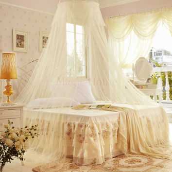 Luxury Elegant Round Bed Canopy Curtain- Fits Most Bed Sizes