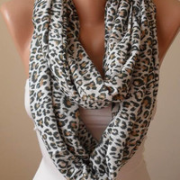 Trendy - Leopard Scarf - Soft Cotton Infinity Scarf