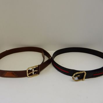 Gucci Mens Womens Leather 2 Belts Red Green Size 34-36 Brass Buckles