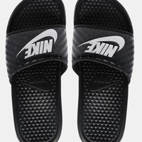 Nike Benassi White & Black Slider Sandals