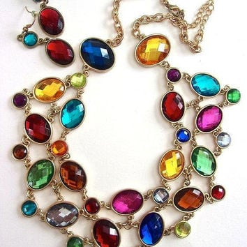 Multi Color Faceted Acrylic Cabochon Bib Necklace Earring Set, Chain Linked, Vintage