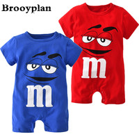 2017 Summer style Baby Rompers Infant Clothing Blue and Red Short sleeve Cartoon Printing Jumpsuit Newborn Baby Boy Girl Clothes