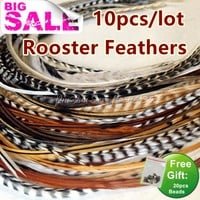 "Bulk Hair Styling 10pcs 6""-12"" Grizzly Ombre Hair Feathers Rooster Feathers Extensions for Hair Accessories for Women Hair Clip"