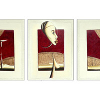 "Triptych ""Afri""  - Surreal Painting  - African Black Art Inspired  Woman Painting - Mixed Media Art on Canvas"