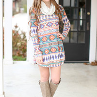 Now Appearing Sweatshirt Dress - Aztec