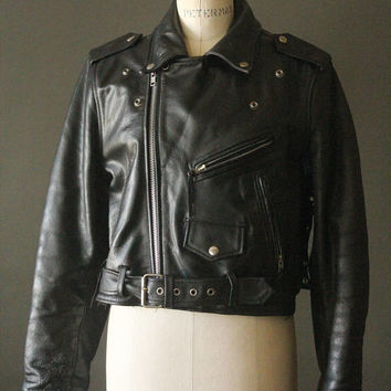 Vintage 80's Black Leather Motorcycle Biker Jacket by FMC, size L