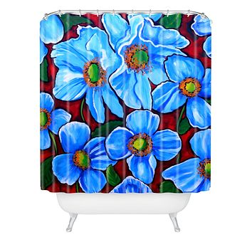 Renie Britenbucher Himalayan Blue Poppies Shower Curtain