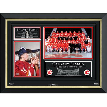 THEOREN FLEURY & THE CALGARY FLAMES STANLEY CUP CHAMPS, LIMITED EDITION 14 OF 89