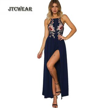 JTCWEAR Summer Sexy Backless Big Slit To Thigh Woman Long Dress Embroidery Sleeveless Party Club Casual Maxi Floor Dress 187