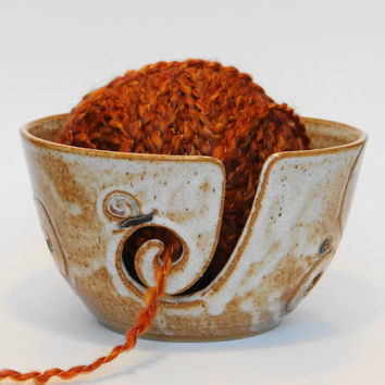 Handmade pottery, Light brown and oatmeal white stoneware yarn bowl, Garden snail yarn bowl, crochet bowl, ceramic yarn bowl, knitting bowl