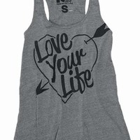 Rebel Yell Love Your Life Boyfriend Tank in Heather Gray
