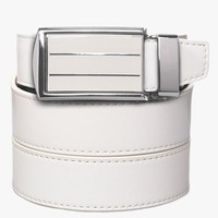 Classic Leather Belt with White Stripe Buckle