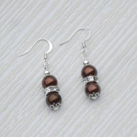 Brown earrings, brown pearl, brown dangling, wedding earrings, bridesmaid earrings, bridesmaid gift, birthday gift, Christmas gift