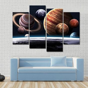 Planets Of The Solar System Multi Panel Canvas Wall Art