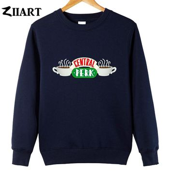 central perk Cafe friends tv show logo couple clothes girls woman cotton autumn winter fleece Sweatshirt