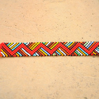 Red African bracelet,Zigzag beaded bracelet,Ethnic jewellery,Traditional African beadwork,African seed beads,Tribal jewellery