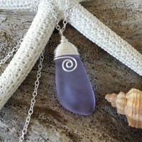 Made in Hawaii, Purple sea glass necklace.Handmade wire wrapped beach glass jewelry,Sea glass jewelry.