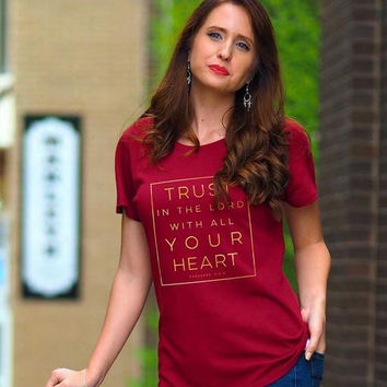Cherished Girl Grace & Truth Trust in the Lord Girlie Christian Bright T Shirt