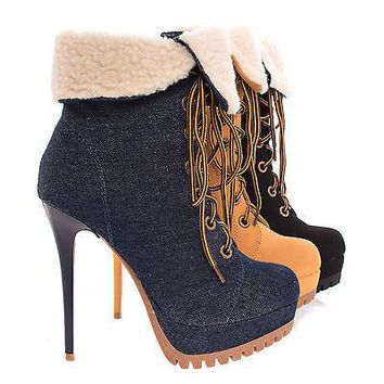 Cavino By Shoe Republic, Women's Work Boots Ankle Booties w Faux Shearling on High Heel & Lug Sole