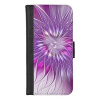 Pink Purple Flower Passion Abstract Fractal Art iPhone 8/7 Wallet Case
